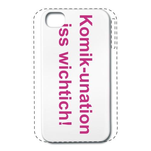 """iPhone 4/4s """"Komik-unation iss wichtich!"""" - iPhone 4/4s Premium Case - Passgenaue Hülle aus Plastik fürs iPhone 4 und iPhone 4s. Marke: Gröner - Dein iPhone 4/4s ist so individuell wie Du selbst. Mit dem Premium Case kannst Du es rundum Deinem persönlichen Stil anpassen. Das Besondere daran: Nicht nur die Rückseite wird bedruckt, sondern auch die Außenränder, so dass Dein Handy nahtlos von Deinem Wunschmotiv umrahmt wird, ohne wichtige Details abzuschneiden."""