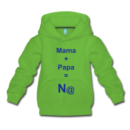 """Kapuzenpullover Kinder: """"Mama + Papa = N@"""" (Nett) - Kinder Premium Kapuzenpullover - Kuscheliger Kapuzenpullover für Kinder, 80% Baumwolle und 20% Polyester, Marke: B&C"""